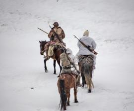 Кони в горах и снаряжение для верховой езды